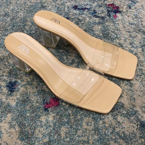 Zara clear heel sandals 42